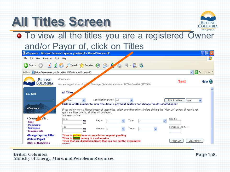 All Titles Screen To view all the titles you are a registered Owner and/or Payor of, click on Titles.