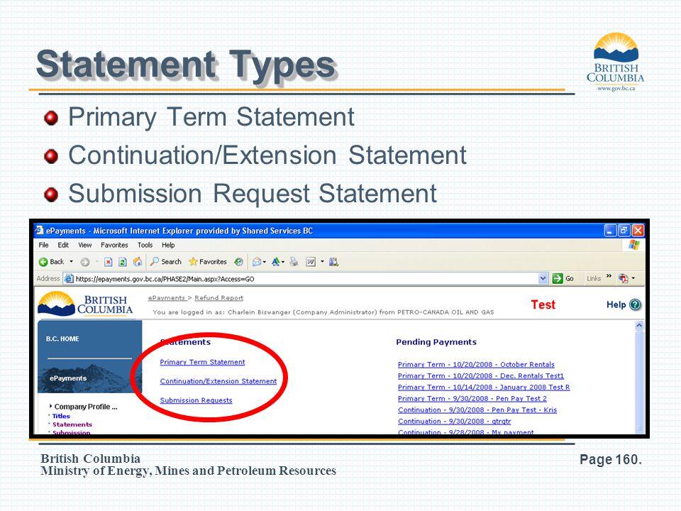 Statement Types Primary Term Statement