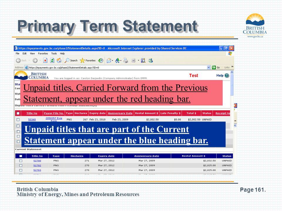 Primary Term Statement