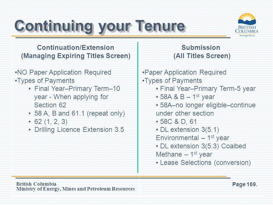Continuing your Tenure