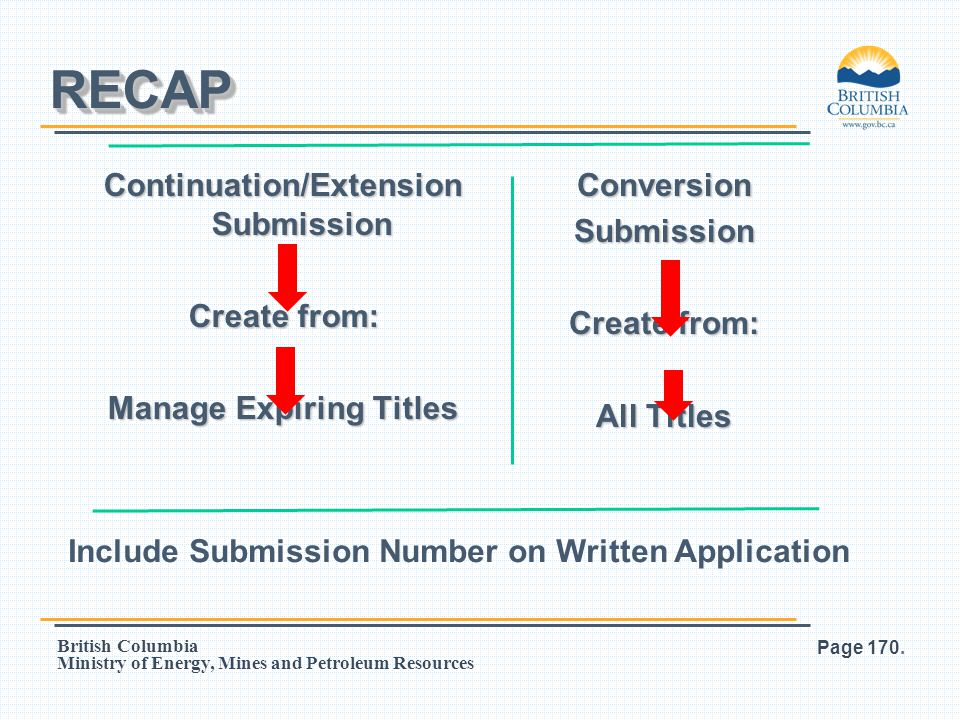 RECAP Continuation/Extension Submission Create from: Manage Expiring Titles Conversion Submission Create from: All Titles