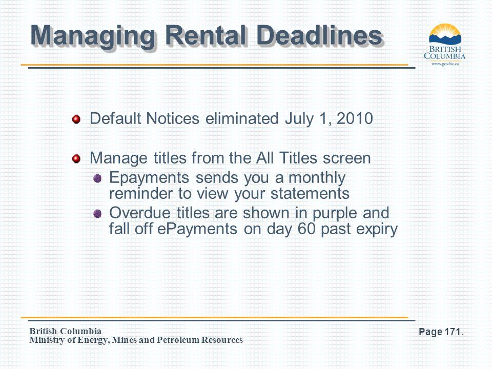 Managing Rental Deadlines