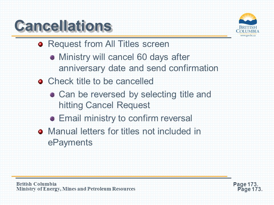 Cancellations Request from All Titles screen