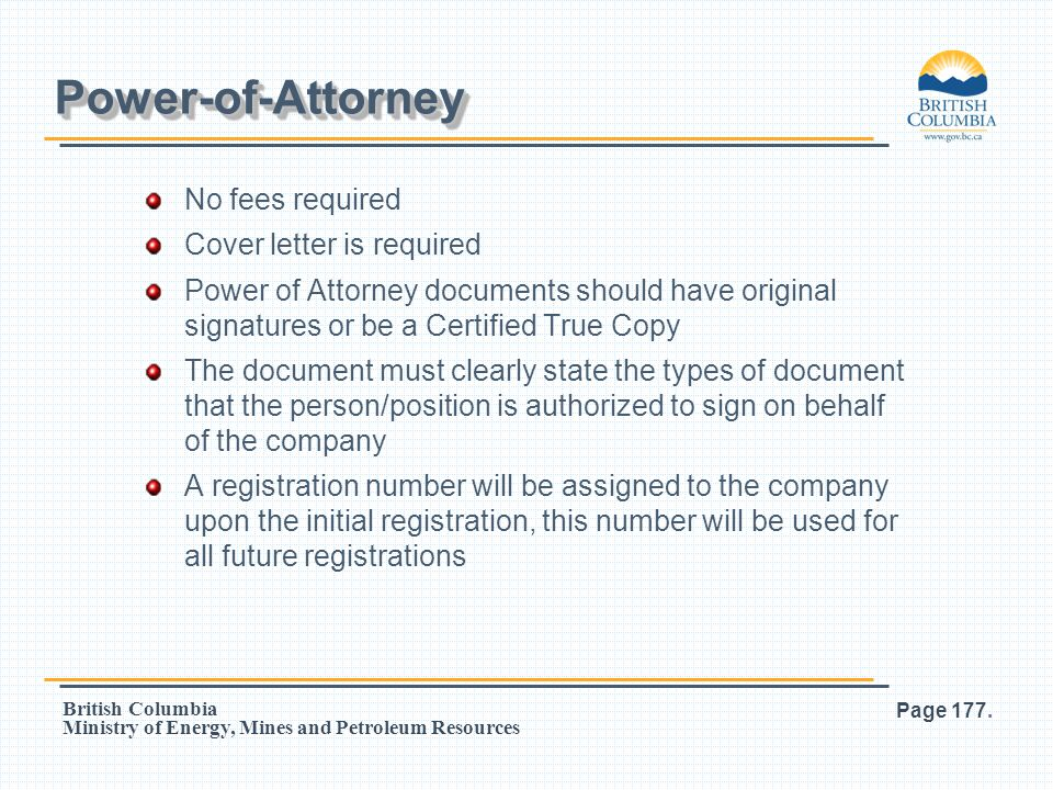 Power-of-Attorney No fees required Cover letter is required