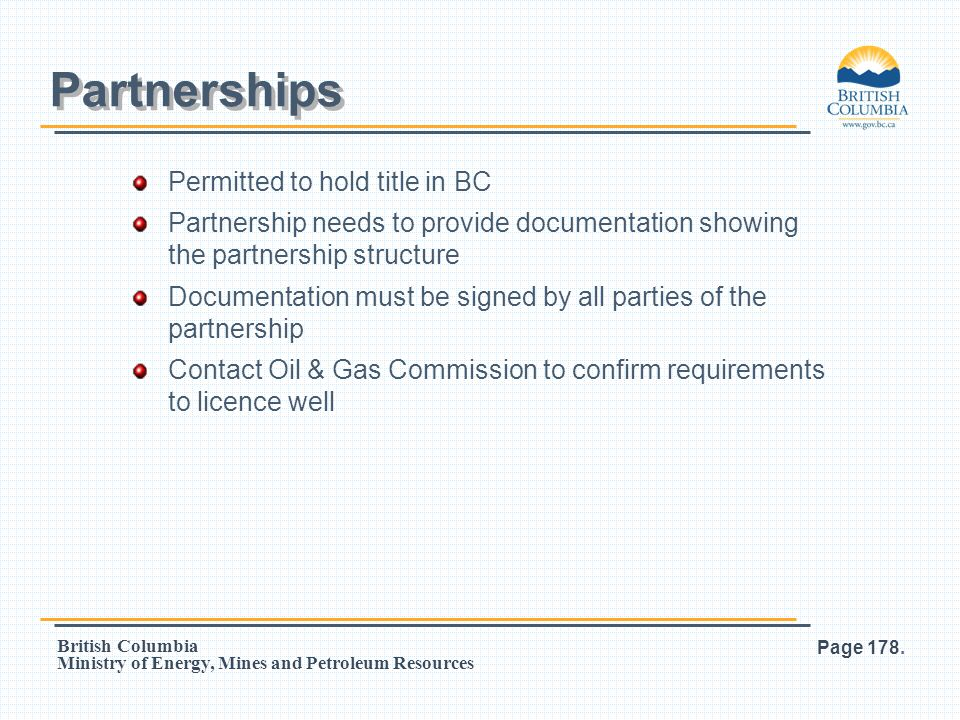 Partnerships Permitted to hold title in BC