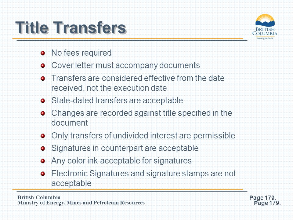 Title Transfers No fees required Cover letter must accompany documents