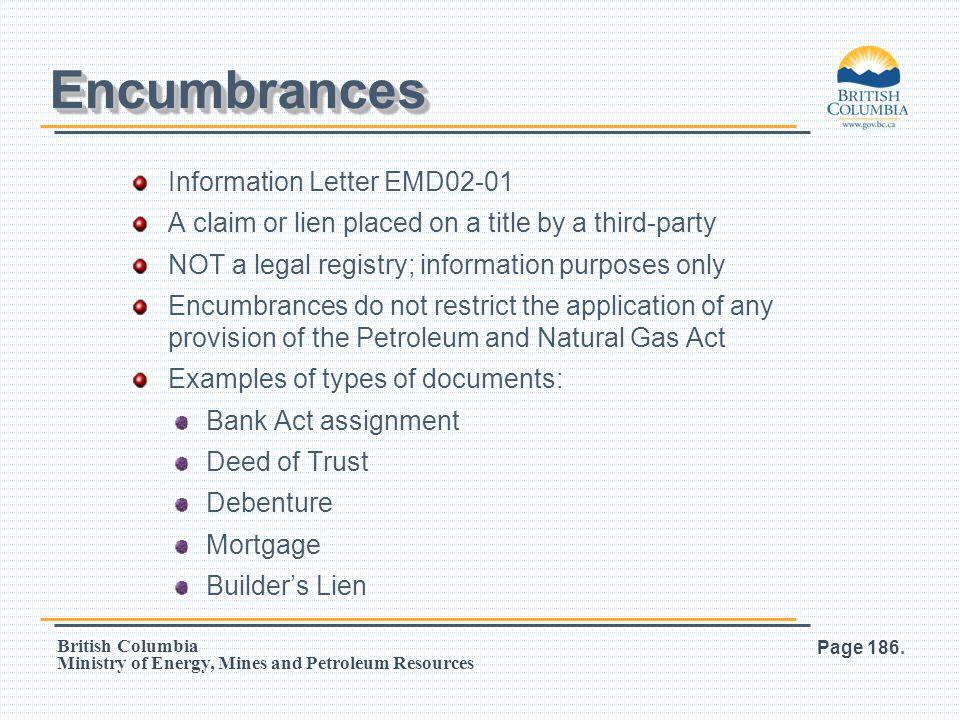 Encumbrances Information Letter EMD02-01
