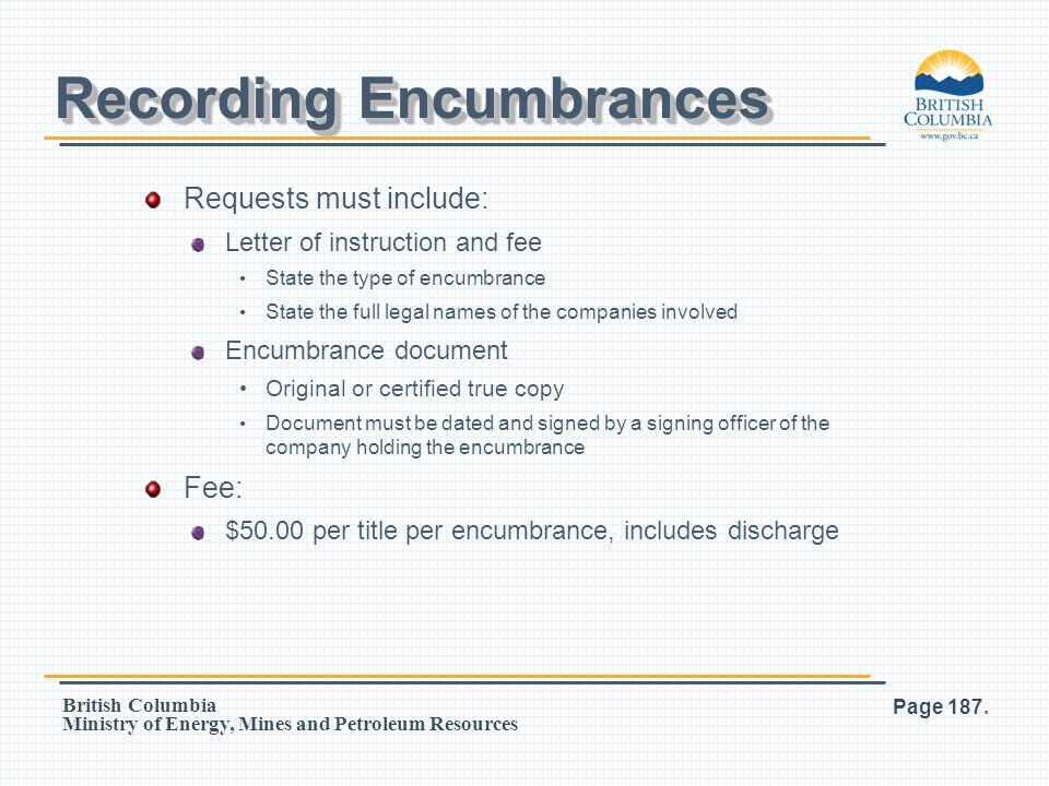 Recording Encumbrances