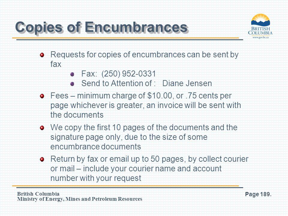Copies of Encumbrances