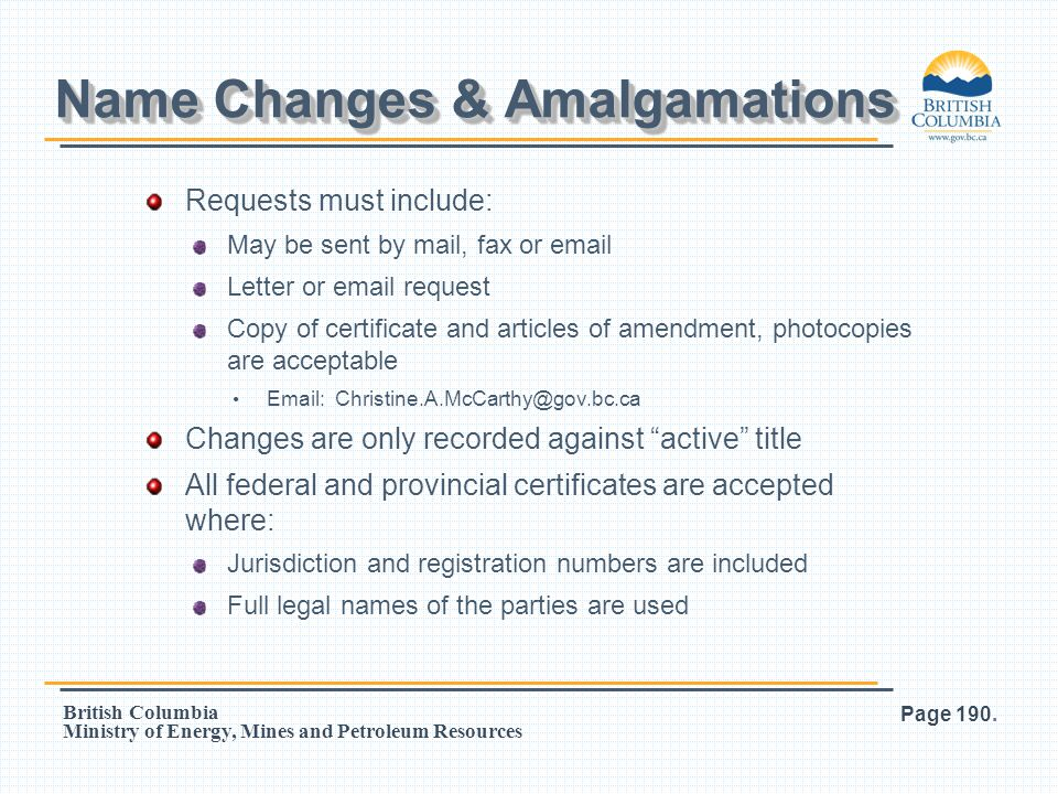 Name Changes & Amalgamations