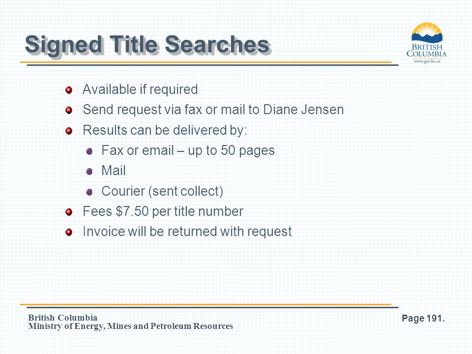 Signed Title Searches Available if required