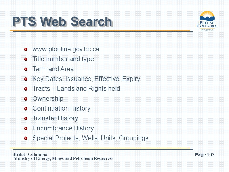 PTS Web Search www.ptonline.gov.bc.ca Title number and type