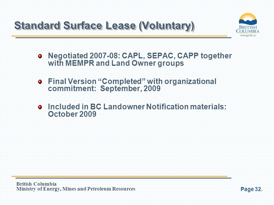Standard Surface Lease (Voluntary)