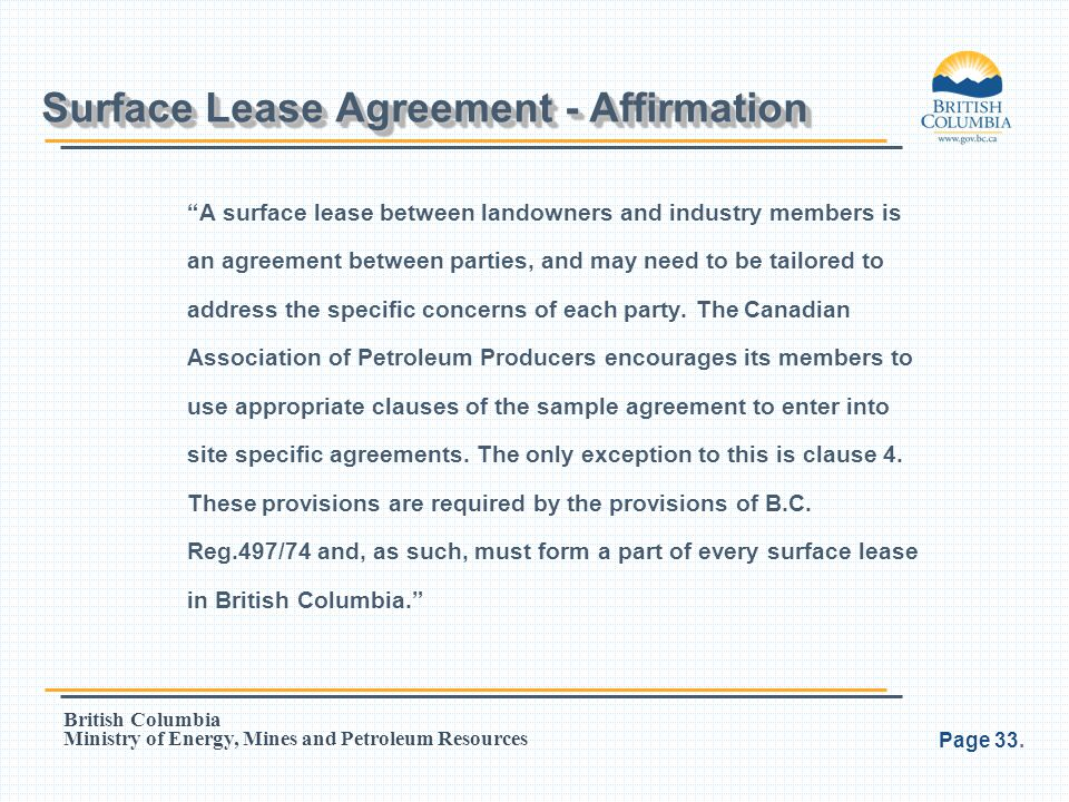 Surface Lease Agreement - Affirmation