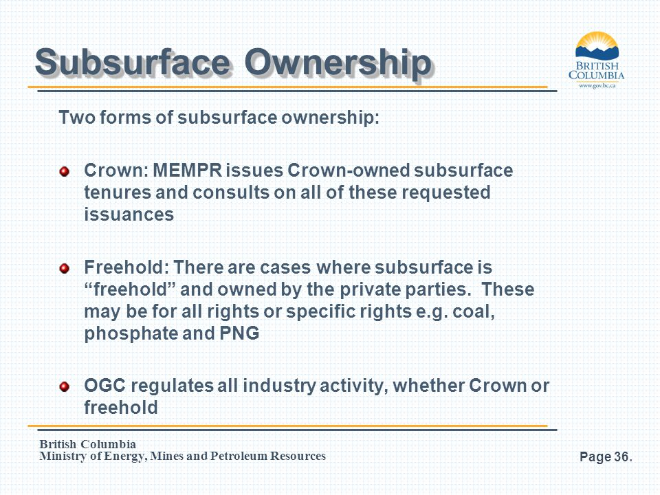 Subsurface Ownership Two forms of subsurface ownership: