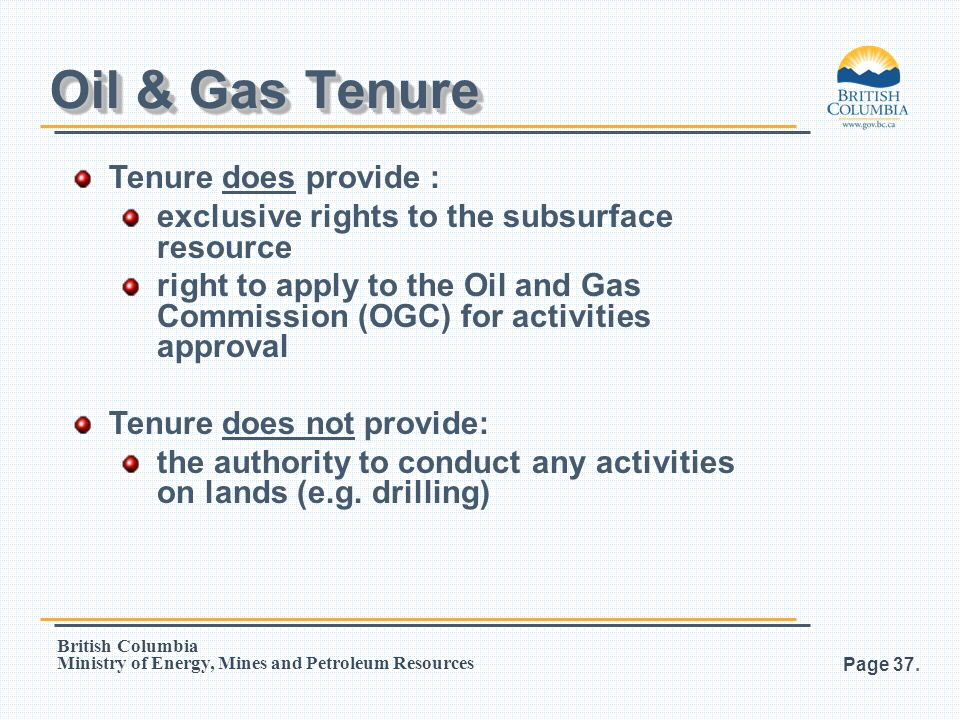Oil & Gas Tenure Tenure does provide :
