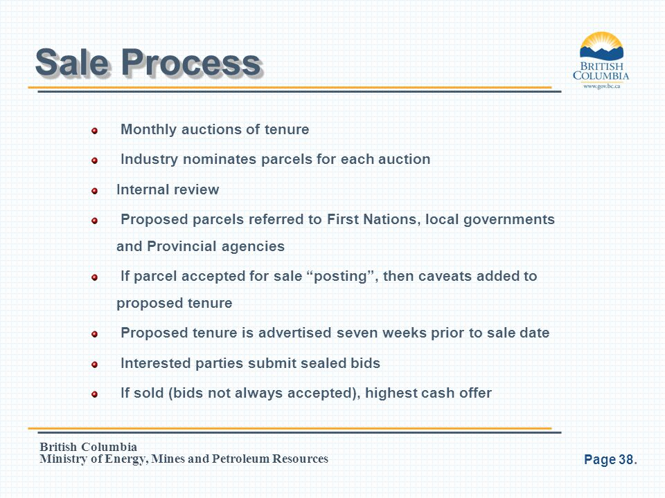 Sale Process Monthly auctions of tenure