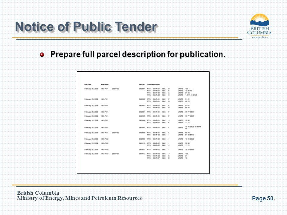 Notice of Public Tender