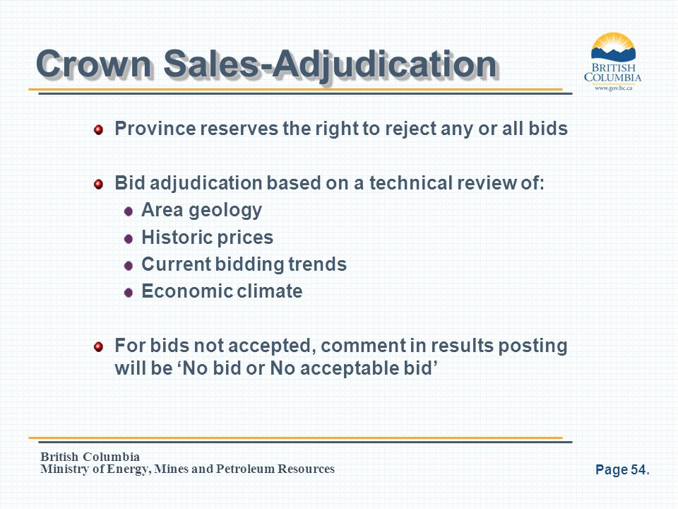 Crown Sales-Adjudication