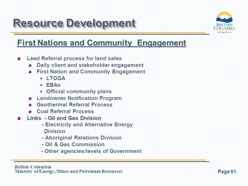 Resource Development First Nations and Community Engagement