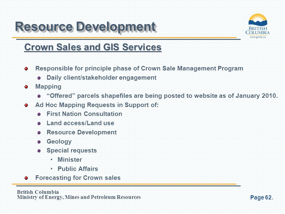 Resource Development Crown Sales and GIS Services