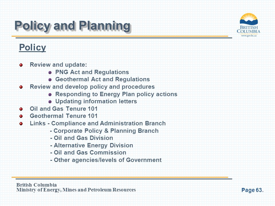 Policy and Planning Policy Review and update: PNG Act and Regulations