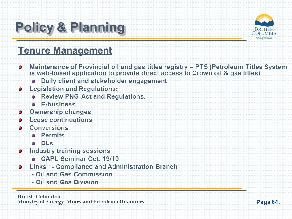 Policy & Planning Tenure Management