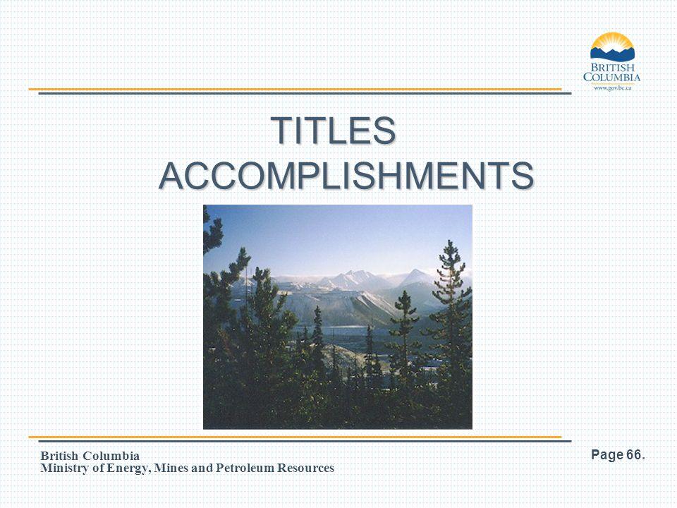 TITLES ACCOMPLISHMENTS