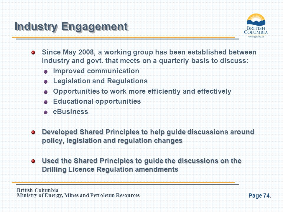 Industry Engagement Since May 2008, a working group has been established between industry and govt. that meets on a quarterly basis to discuss: