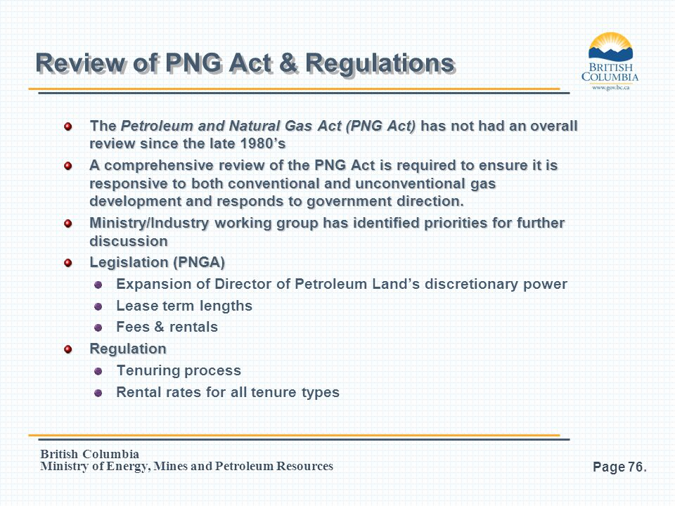 Review of PNG Act & Regulations