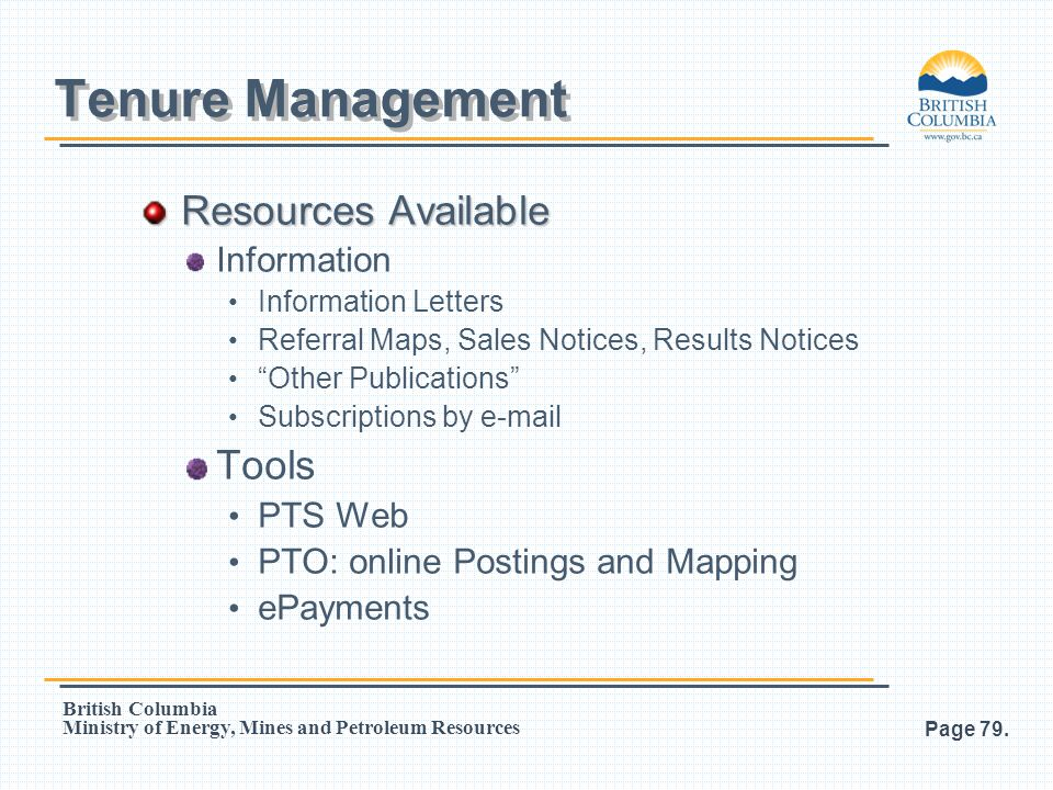 Tenure Management Resources Available Tools Information PTS Web