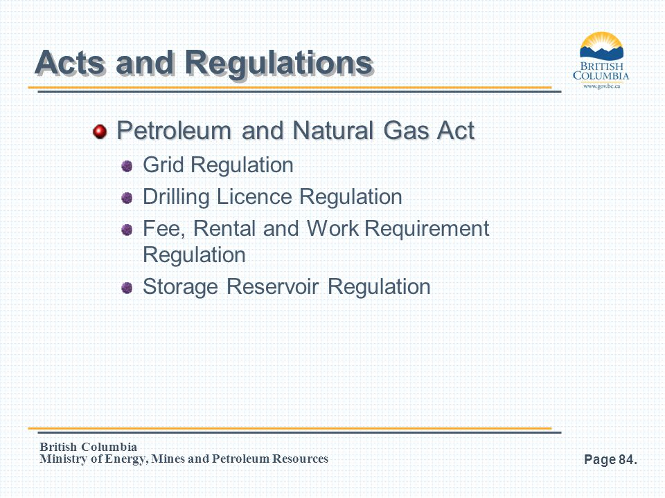 Acts and Regulations Petroleum and Natural Gas Act Grid Regulation