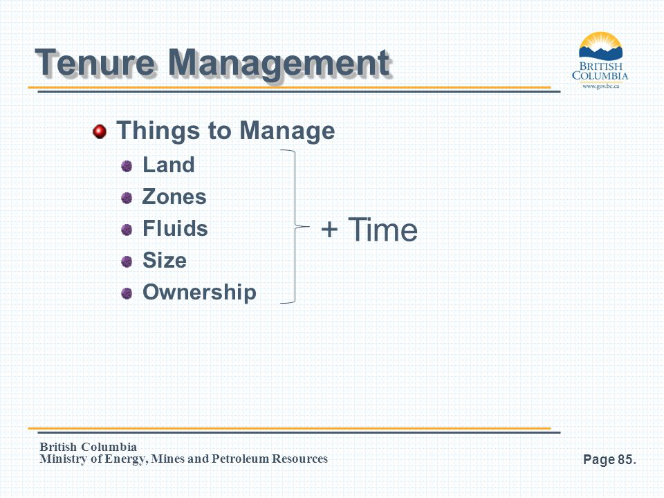 Tenure Management + Time Things to Manage Land Zones Fluids Size