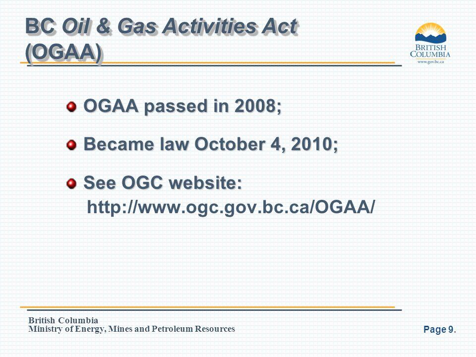 BC Oil & Gas Activities Act (OGAA)