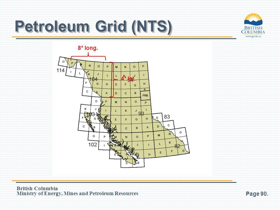 Petroleum Grid (NTS) 8° long. 4° lat.