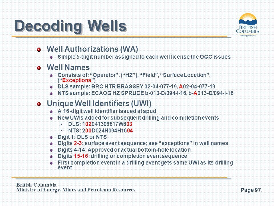 Decoding Wells Well Authorizations (WA) Well Names