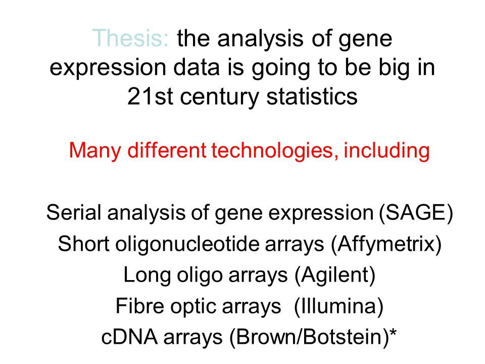 gene expression thesis Thesis methods - free download as word doc (doc / docx), pdf file (pdf), text file (txt) or read online for free.