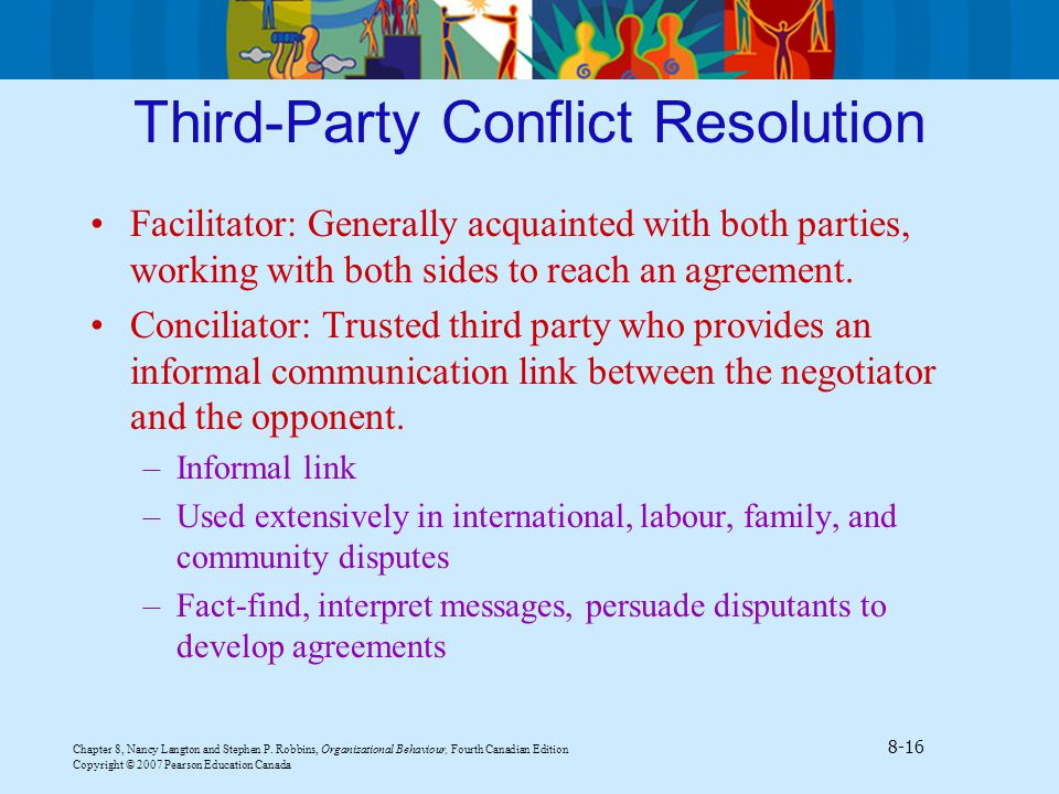 third party conflict resolution Mediation is defined as the intervention in a standard negotiation or conflict of an acceptable third party who has limited or no authoritative decision-making power but who assists the involved parties in voluntarily reaching a mutually acceptable settlement of issues in dispute[p 15] within this definition mediators may play a number of.