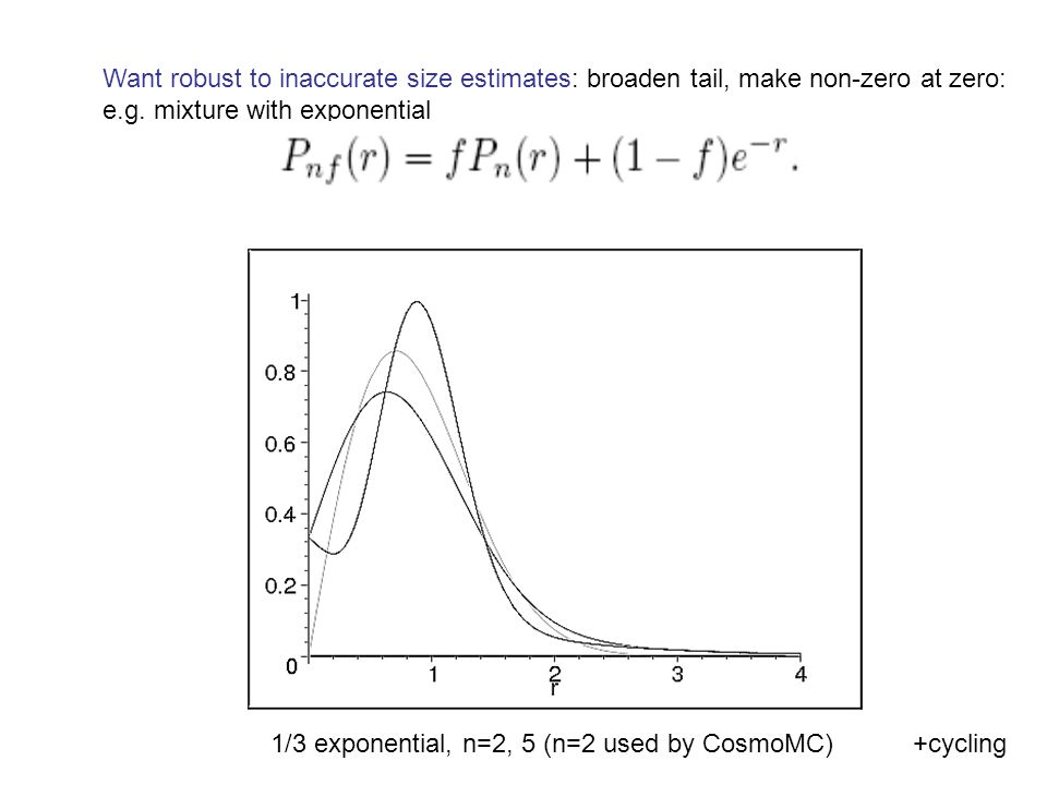 Want robust to inaccurate size estimates: broaden tail, make non-zero at zero: