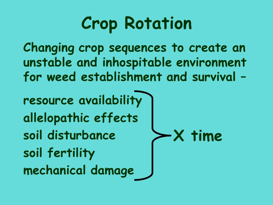 Crop Rotation Changing crop sequences to create an unstable and inhospitable environment for weed establishment and survival –