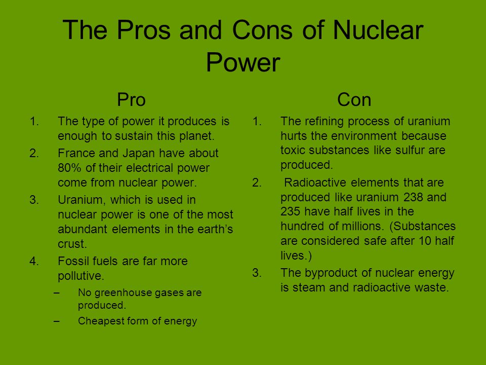 the advantages and disadvantages of nuclear power use and production Advantages and challenges of advantages of wind power because the wind turbines use only a fraction of the land wind power plant owners make rent.