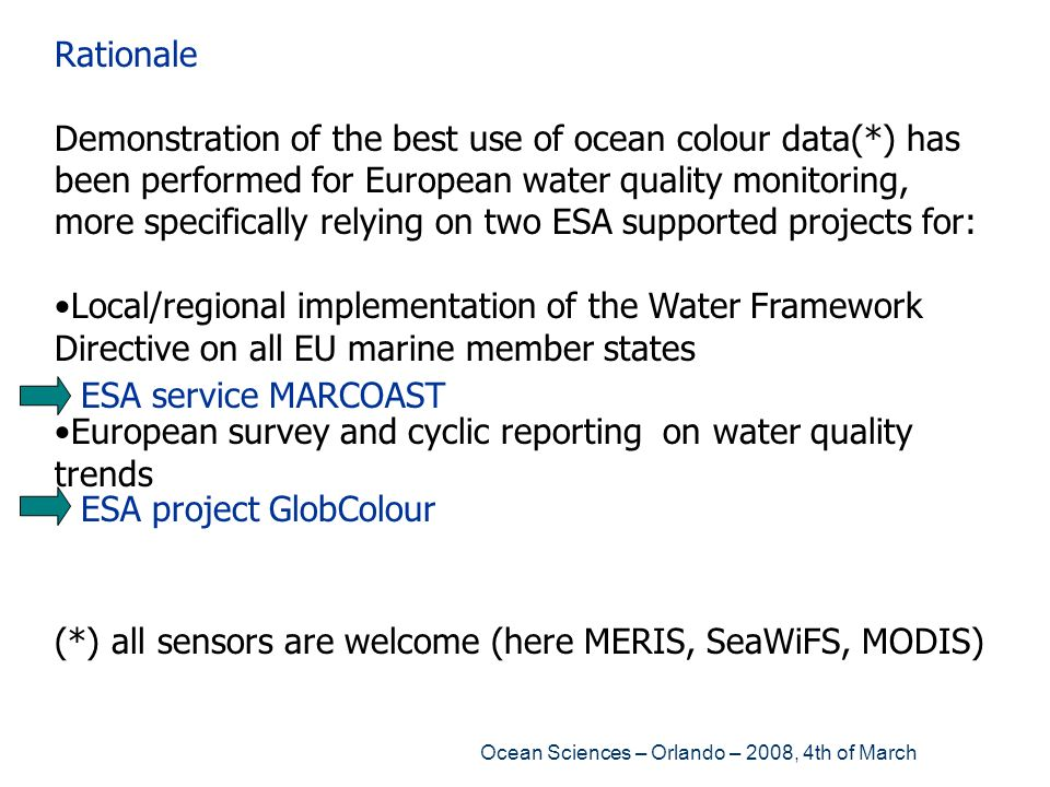 European survey and cyclic reporting on water quality trends