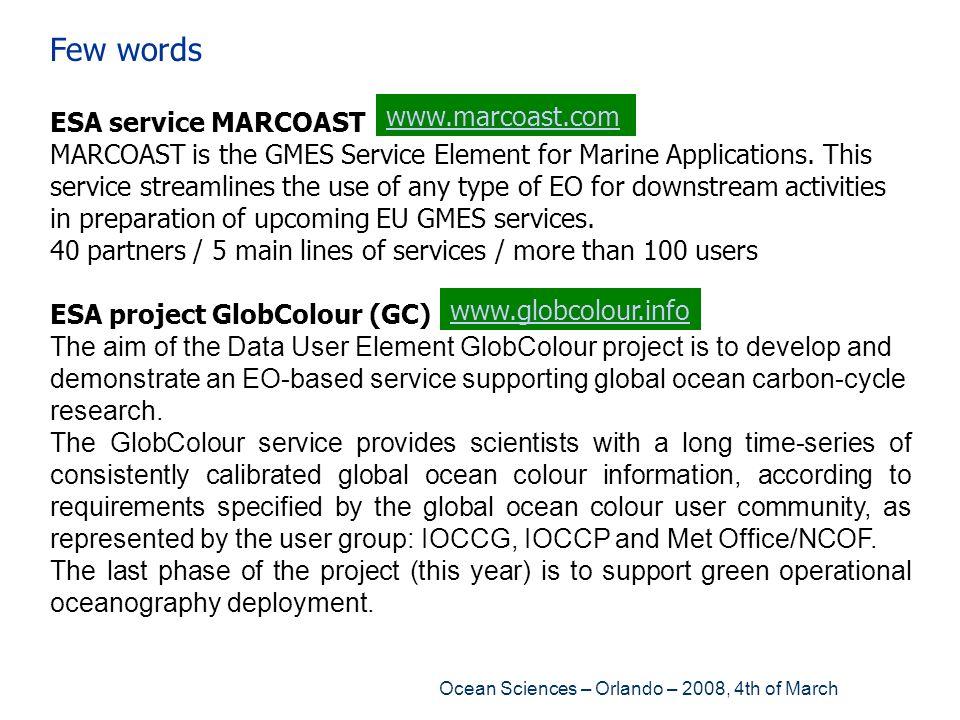 Few words ESA service MARCOAST
