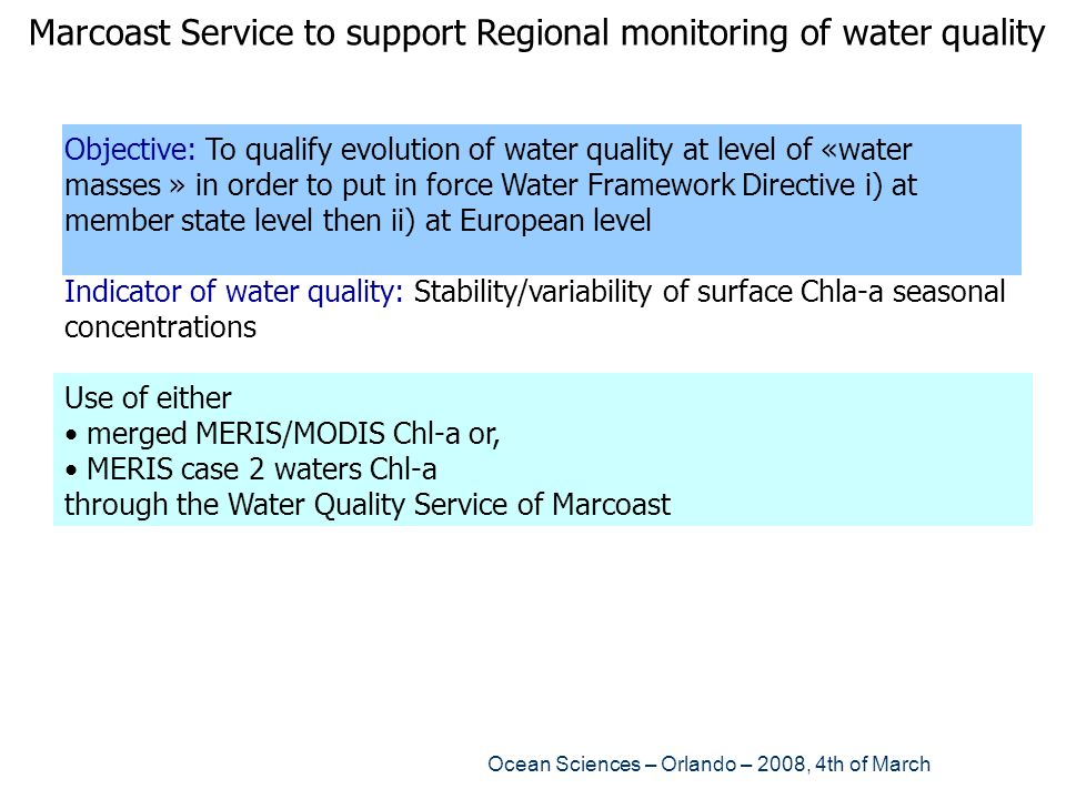 Marcoast Service to support Regional monitoring of water quality
