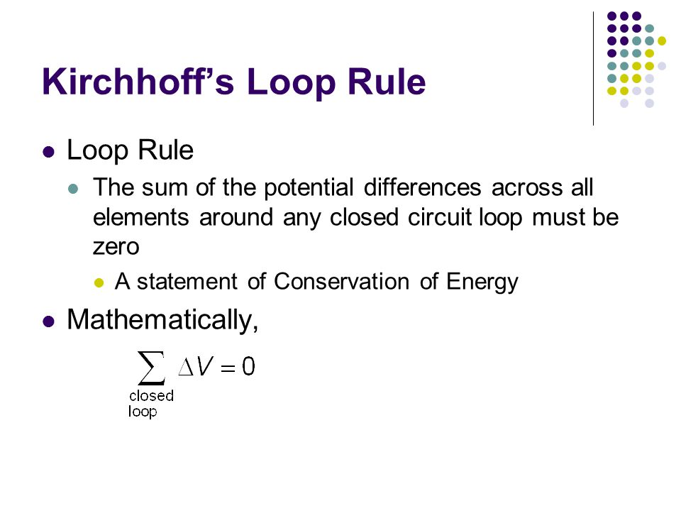 Kirchhoff's Loop Rule Loop Rule Mathematically,