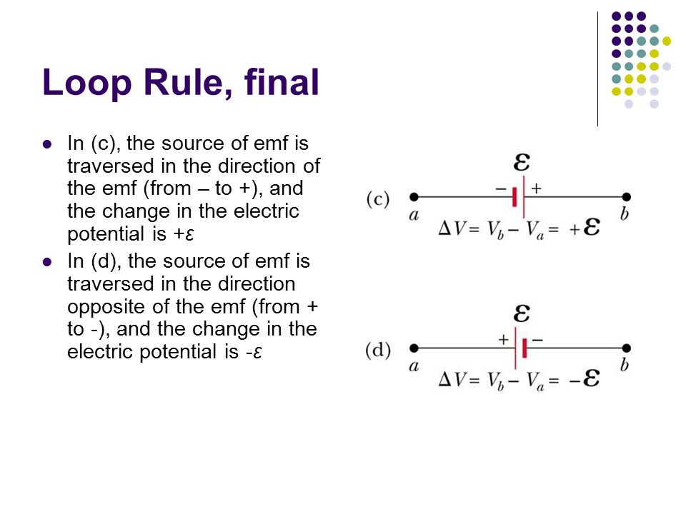 Loop Rule, final In (c), the source of emf is traversed in the direction of the emf (from – to +), and the change in the electric potential is +ε.