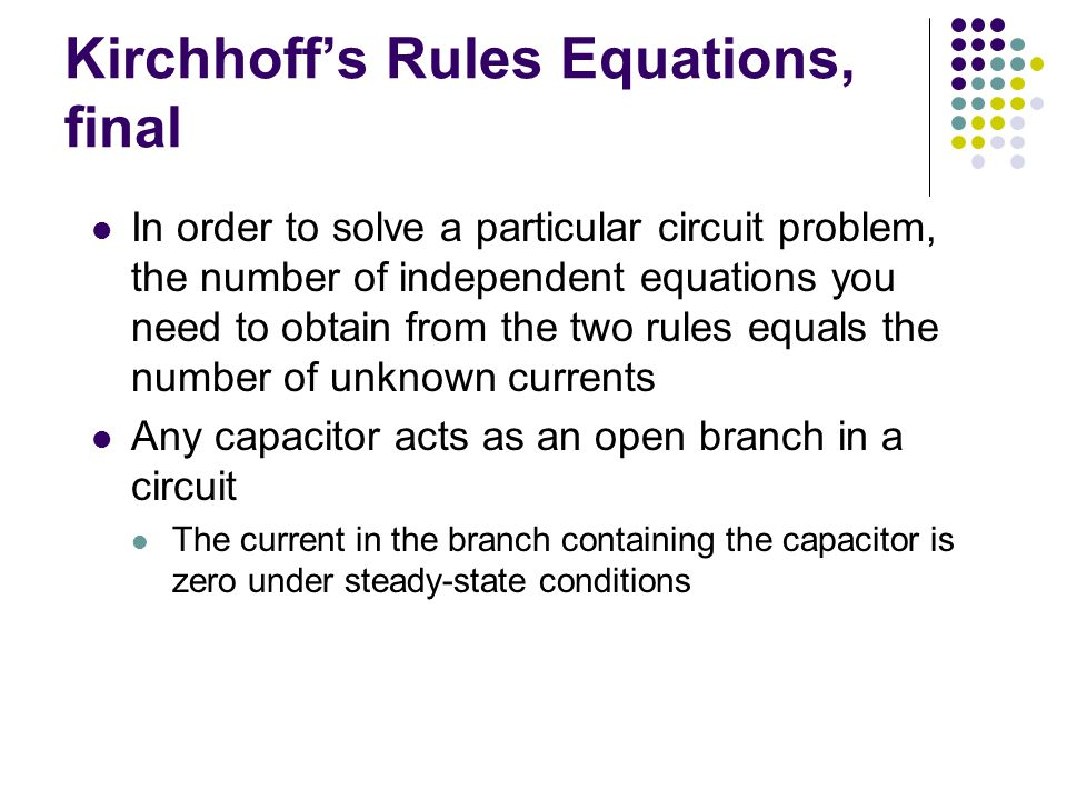 Kirchhoff's Rules Equations, final
