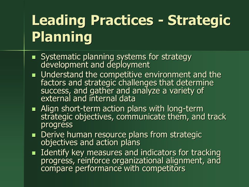Leading Practices - Strategic Planning