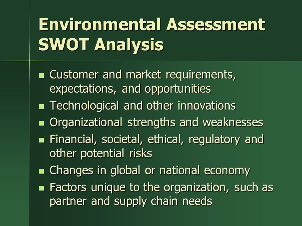 Environmental Assessment SWOT Analysis