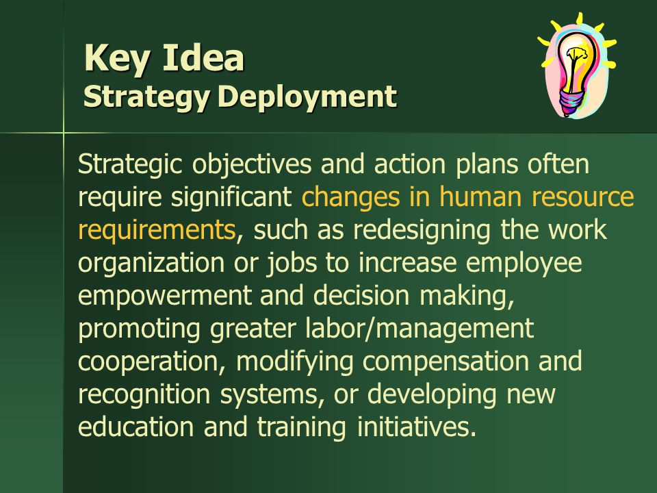 Key Idea Strategy Deployment